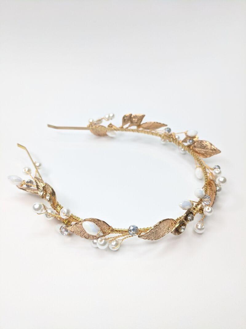 Свадебный ободок с золотыми листьями, артикул 5642031, фото №3