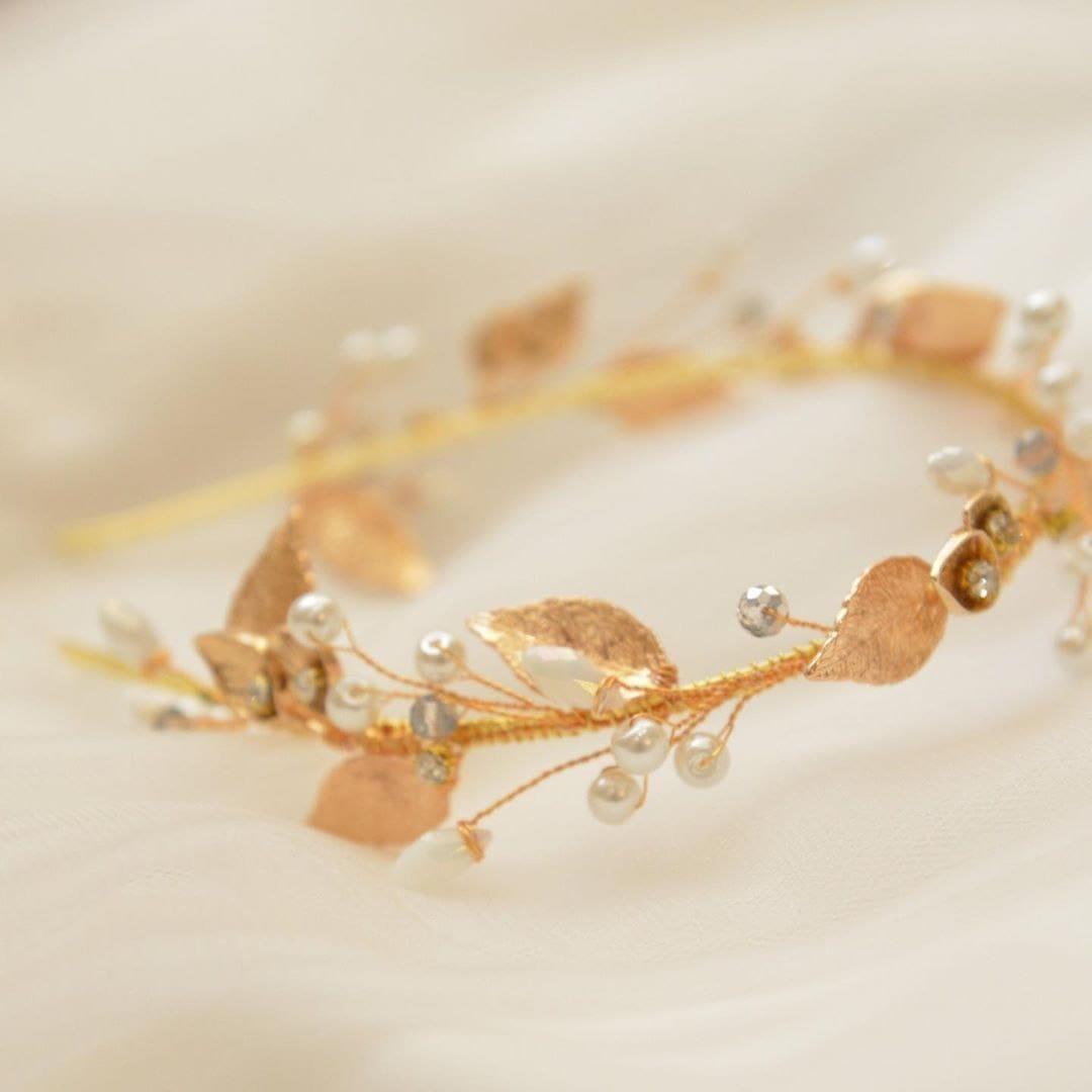 Свадебный ободок с золотыми листьями, артикул 5642031, фото №6