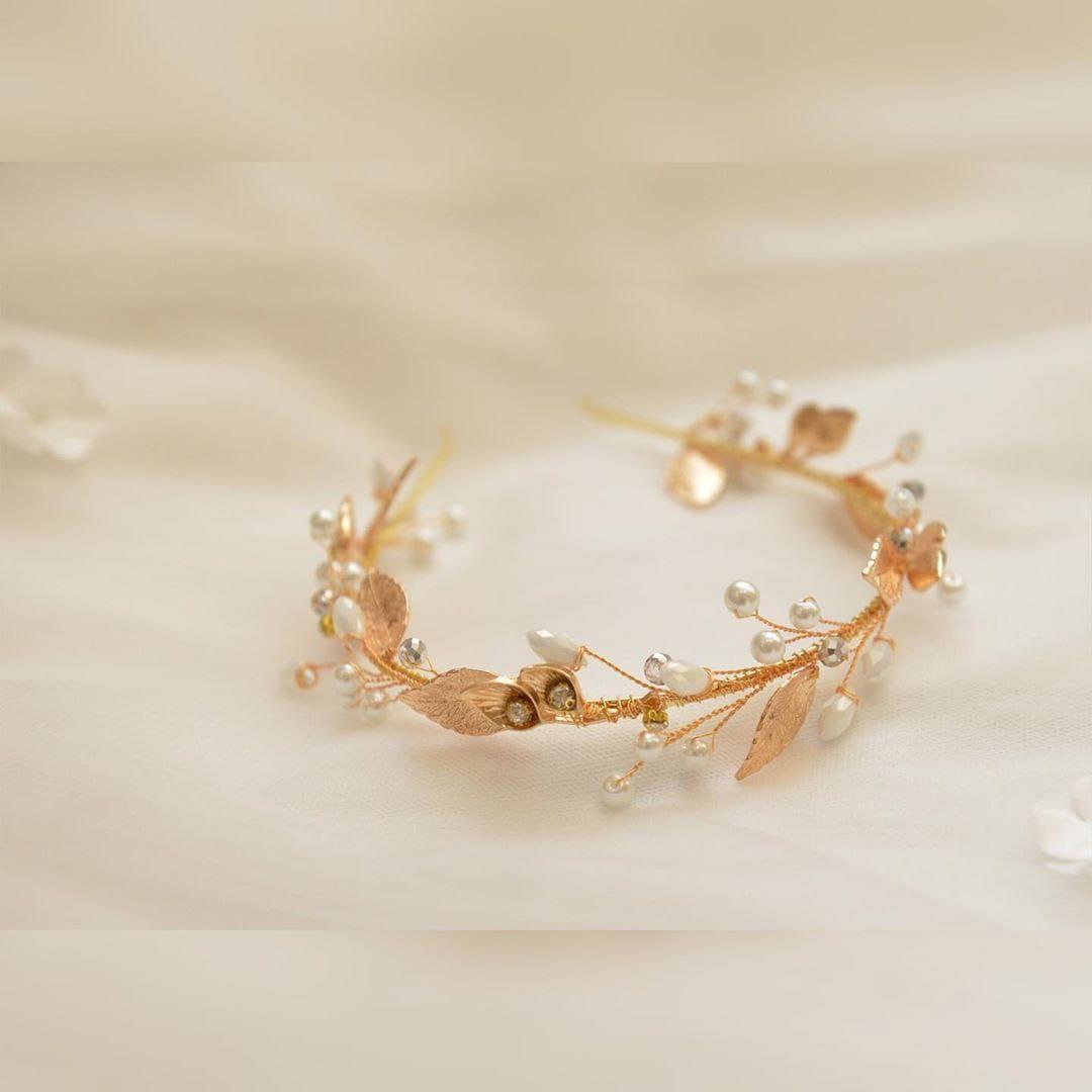 Свадебный ободок с золотыми листьями, артикул 5642031, фото №5
