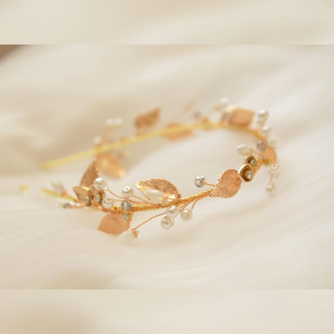 Свадебный ободок с золотыми листьями, артикул 5642031, фото №4