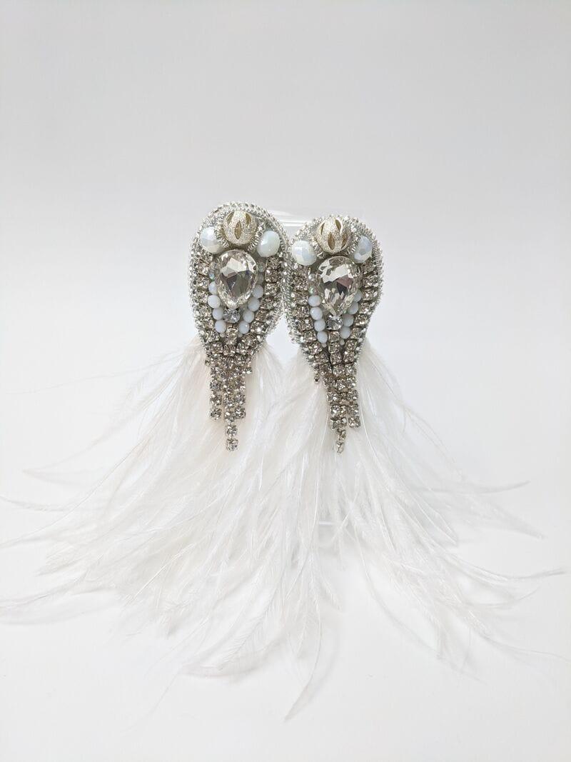 Свадебные серьги с перьями и камнями, артикул 5645034, фото 1