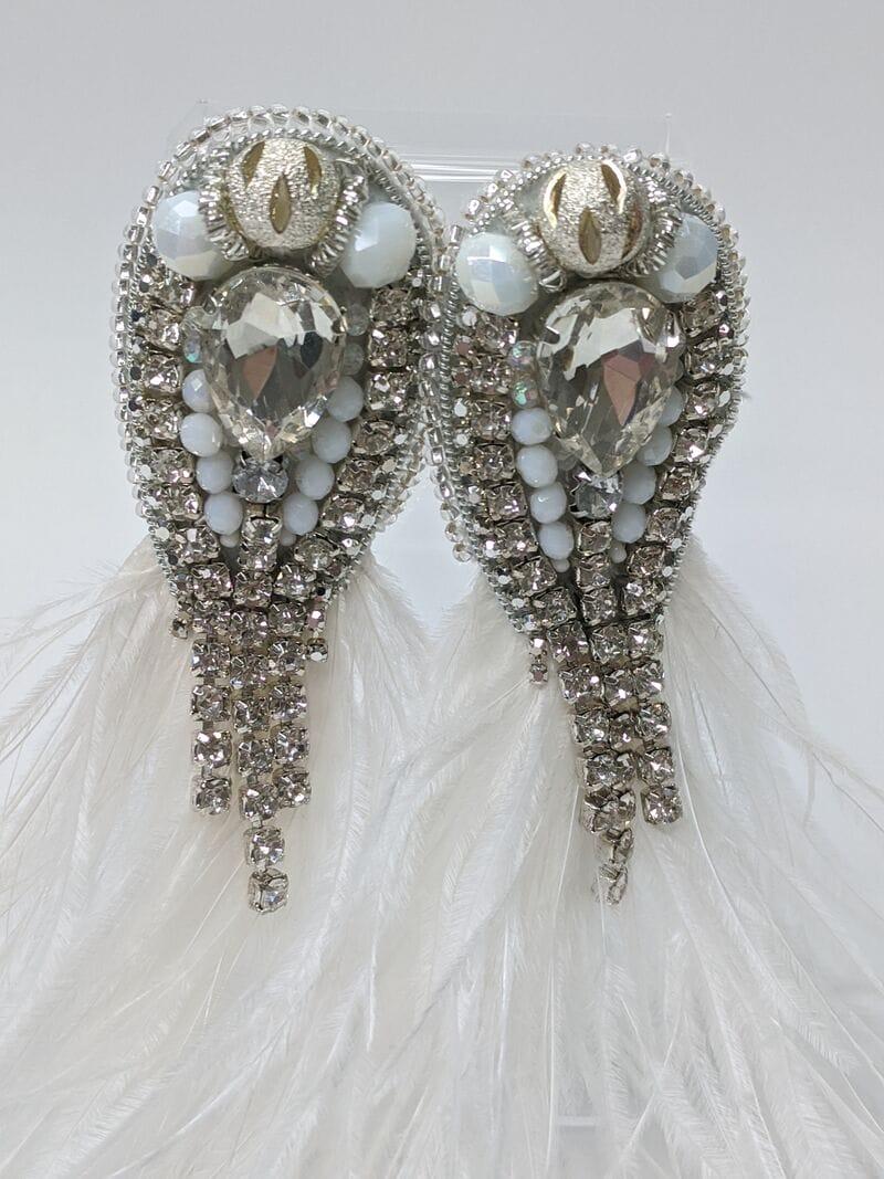 Свадебные серьги с перьями и камнями, артикул 5645034, фото 2