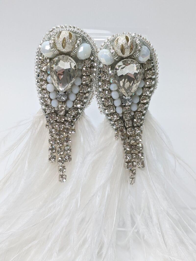 Свадебные серьги с перьями и камнями, артикул 5645034, фото 3