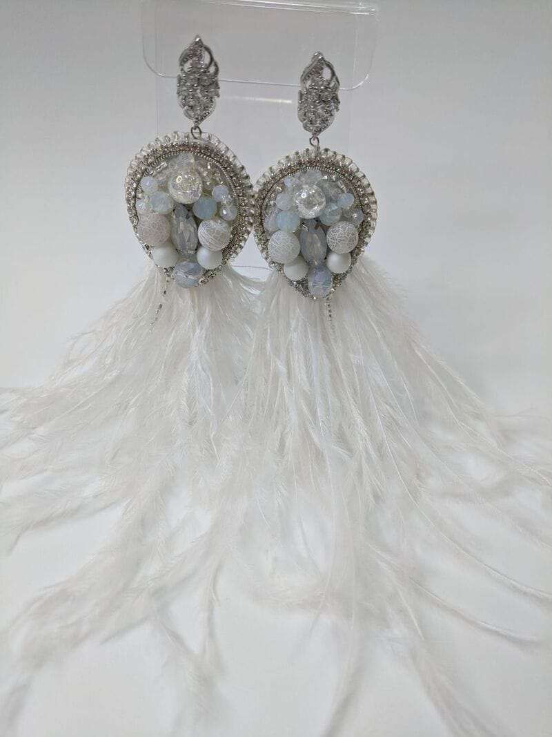 Свадебные серьги «Белые перья», артикул 5645035, фото 1