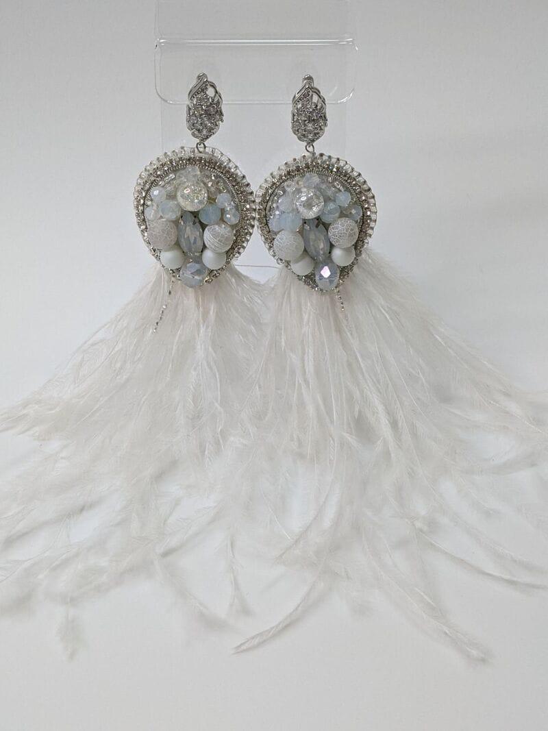 Свадебные серьги «Белые перья», артикул 5645035, фото 2