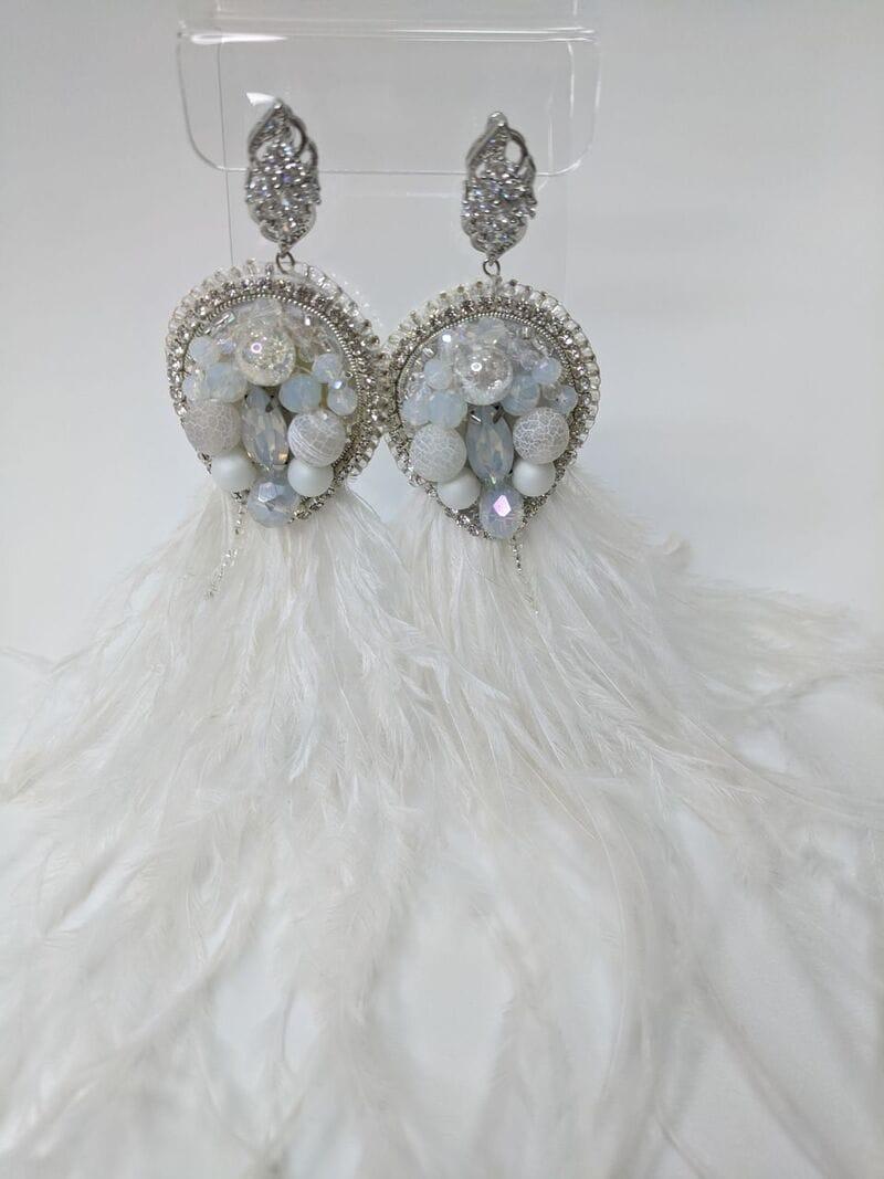 Свадебные серьги «Белые перья», артикул 5645035, фото 3