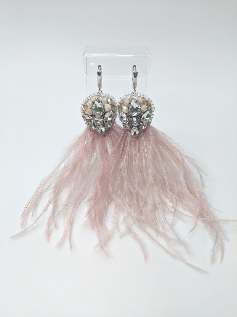 Серьги для вечернего платья «Пудровые перья», артикул 5648058, фото 1