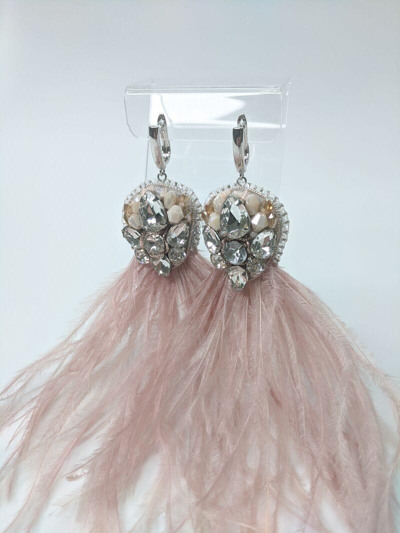 Серьги для вечернего платья «Пудровые перья», артикул 5648058, фото 2
