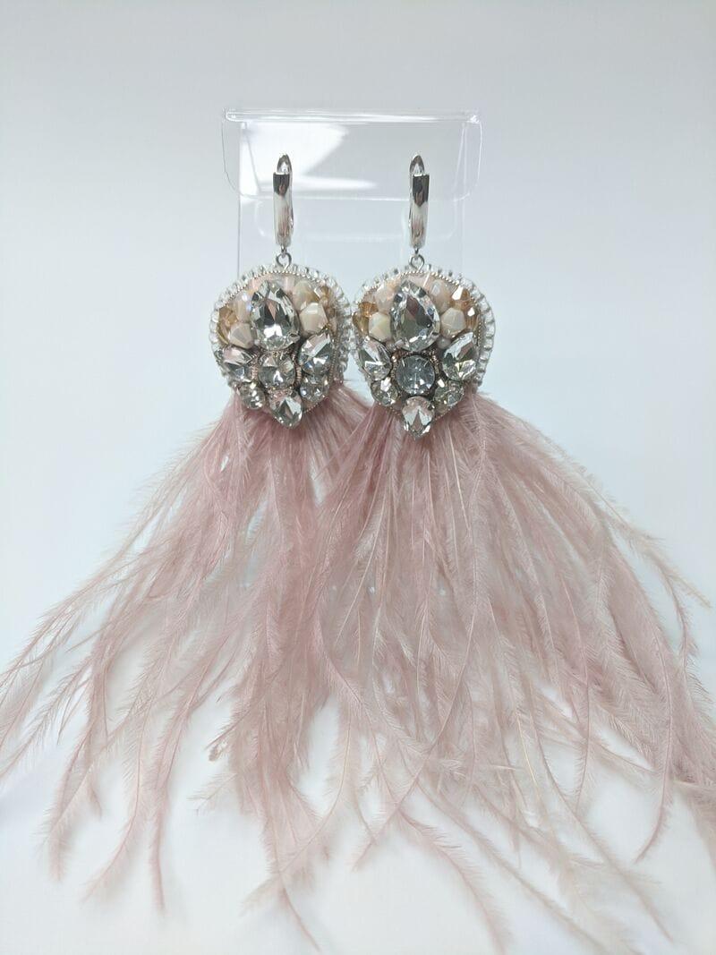 Серьги для вечернего платья «Пудровые перья», артикул 5648058, фото 3
