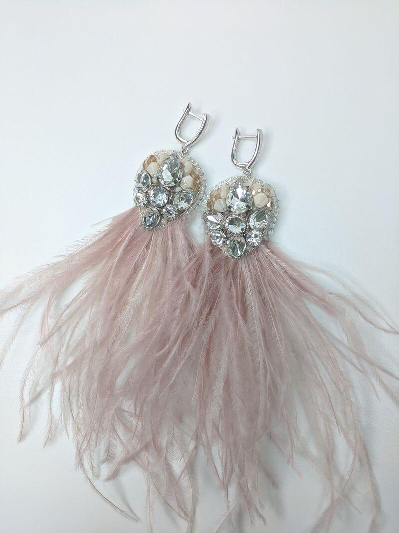 Серьги для вечернего платья «Пудровые перья», артикул 5648058, фото 4