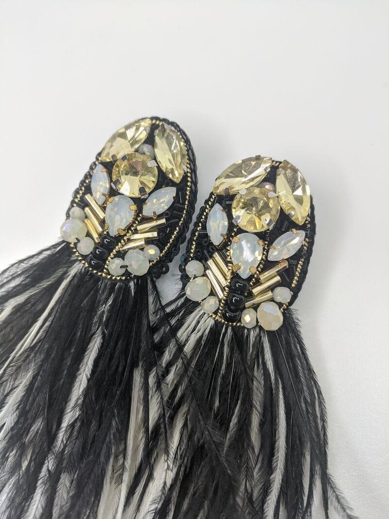 Черные серьги вечерние «Черные перья», артикул 5648059, фото №1