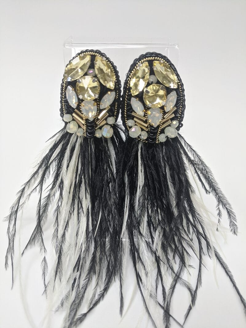 Черные серьги вечерние «Черные перья», артикул 5648059, фото №2