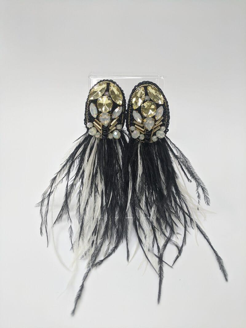 Черные серьги вечерние «Черные перья», артикул 5648059, фото №3