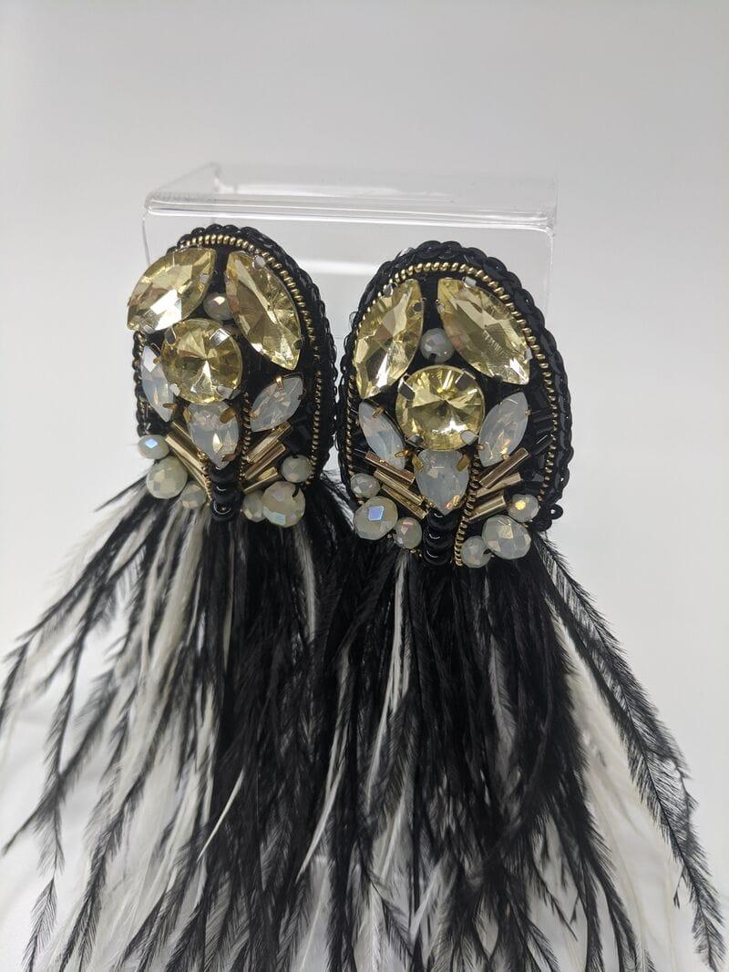 Черные серьги вечерние «Черные перья», артикул 5648059, фото №4