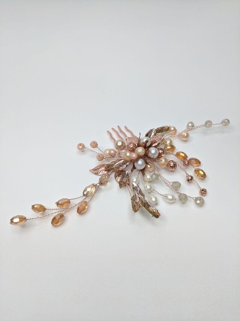 Свадебный гребень розовое золото, артикул 5654023, фото №1