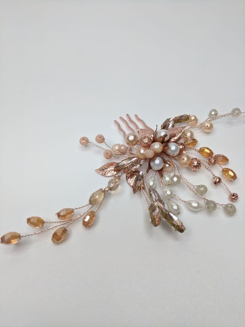 Свадебный гребень розовое золото, артикул 5654023, фото №2