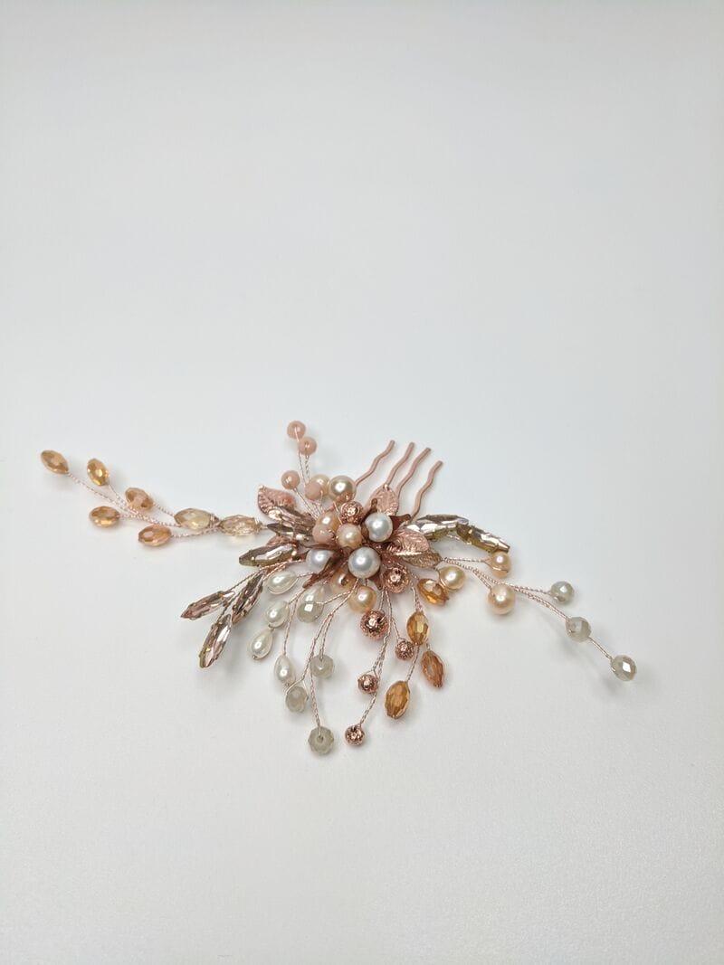 Свадебный гребень розовое золото, артикул 5654023, фото №3