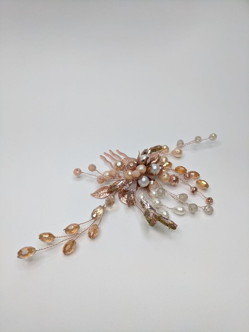 Свадебный гребень розовое золото, артикул 5654023, фото №4
