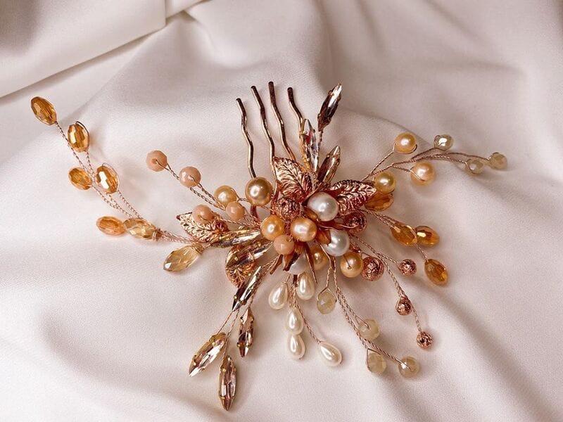 Свадебный гребень розовое золото, артикул 5654023, фото №6