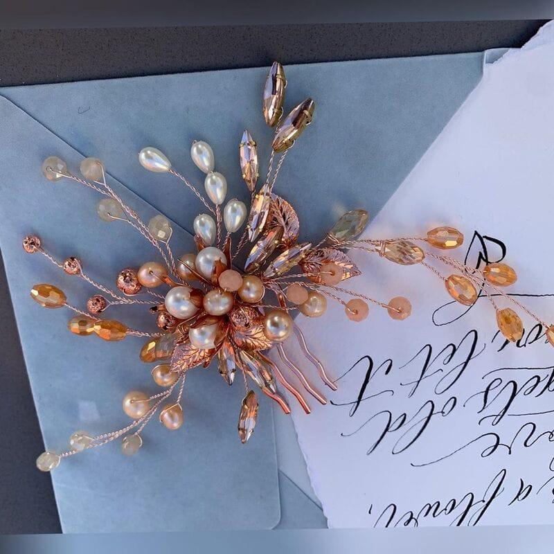 Свадебный гребень розовое золото, артикул 5654023, фото №5