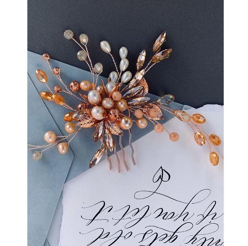 Свадебный гребень розовое золото, артикул 5654023, фото №7