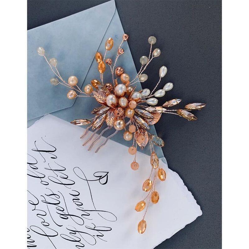 Свадебный гребень розовое золото, артикул 5654023, фото №8