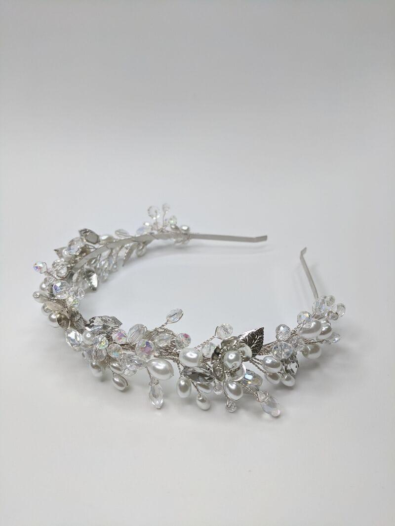 Свадебный ободок на голову в серебре, артикул 5662028, фото №1