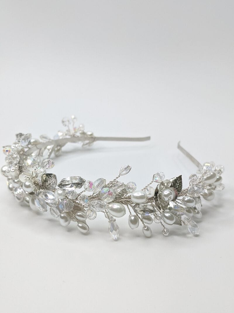 Свадебный ободок на голову в серебре, артикул 5662028, фото №2