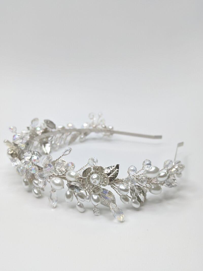 Свадебный ободок на голову в серебре, артикул 5662028, фото №3