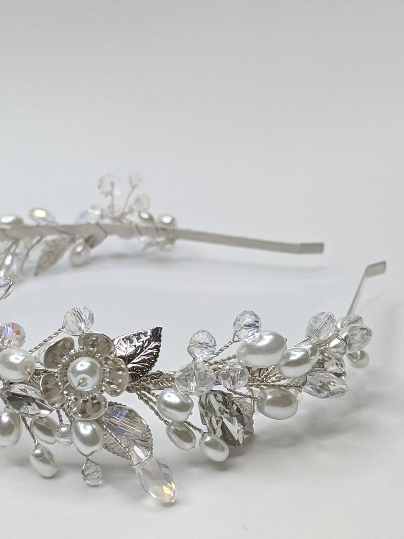 Свадебный ободок на голову в серебре, артикул 5662028, фото №4