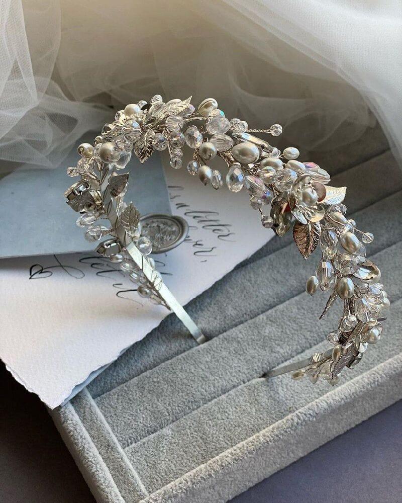 Свадебный ободок на голову в серебре, артикул 5662028, фото №7