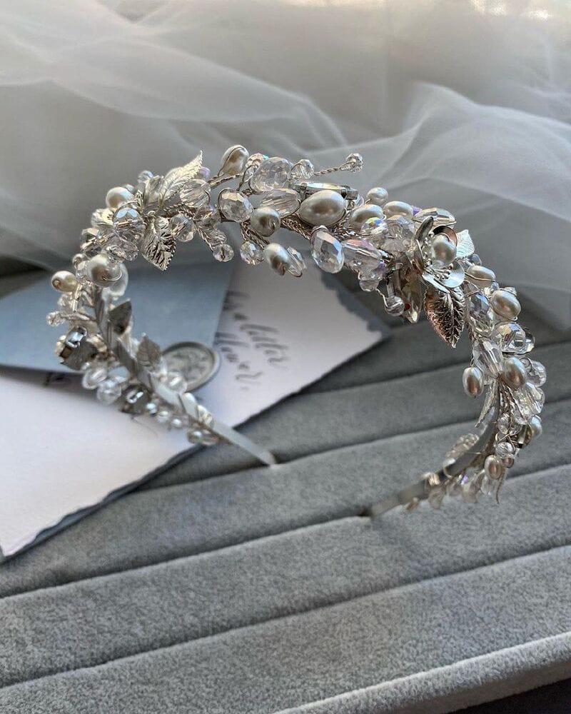 Свадебный ободок на голову в серебре, артикул 5662028, фото №6