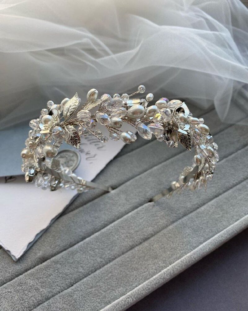 Свадебный ободок на голову в серебре, артикул 5662028, фото №5