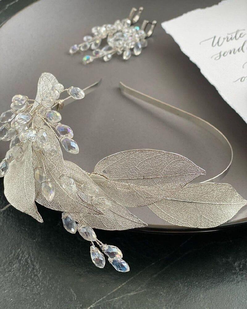 Свадебный ободок на голову с листьями, артикул 5668029, фото №5