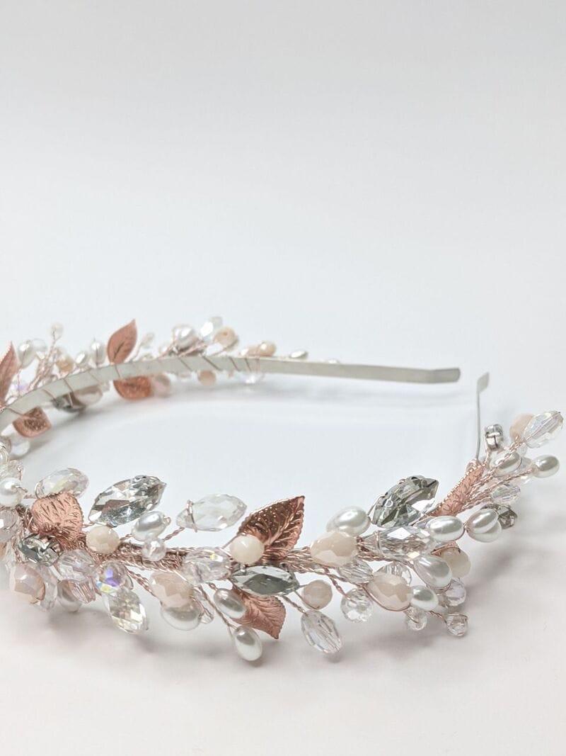 Свадебный ободок розовое золото, артикул 5668033, фото №3