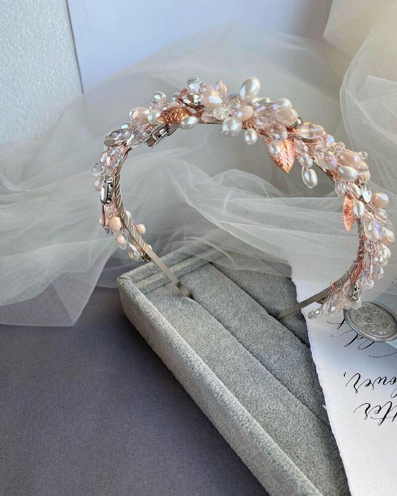 Свадебный ободок розовое золото, артикул 5668033, фото №4