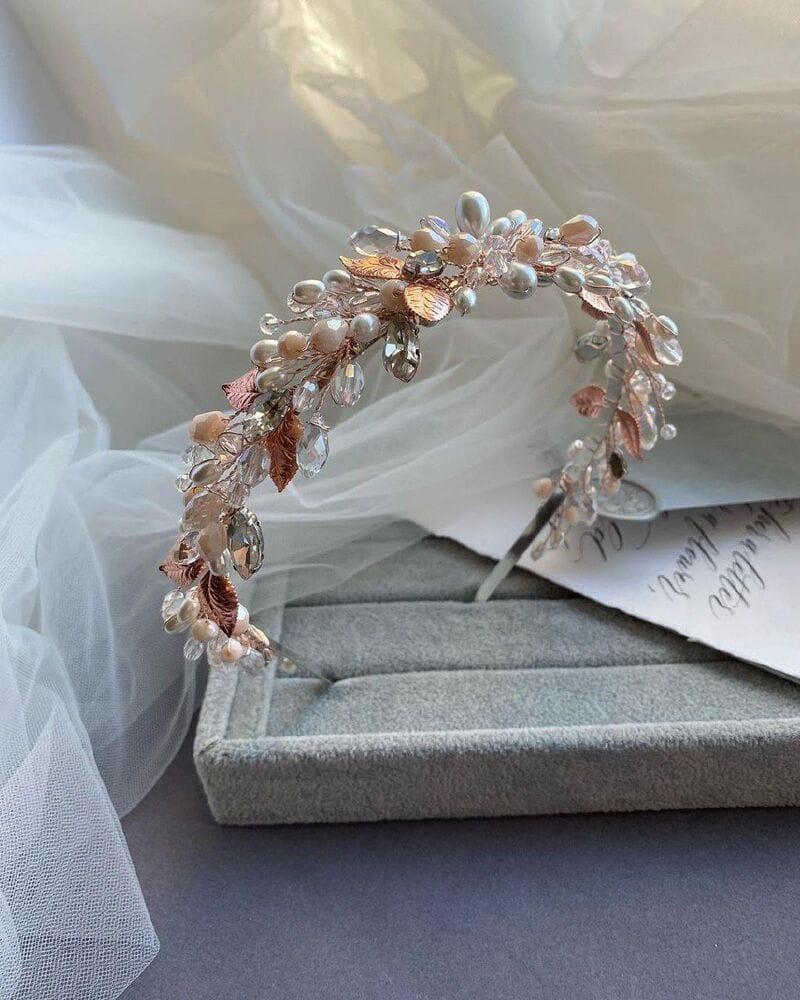 Свадебный ободок розовое золото, артикул 5668033, фото №5