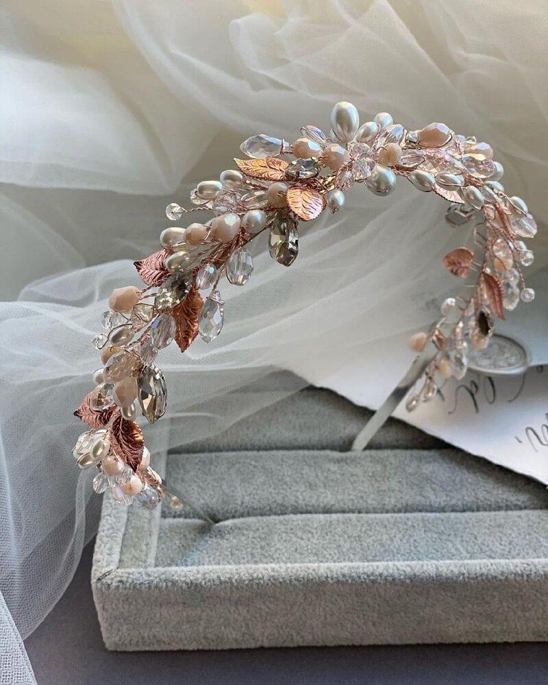 Свадебный ободок розовое золото, артикул 5668033, фото №6