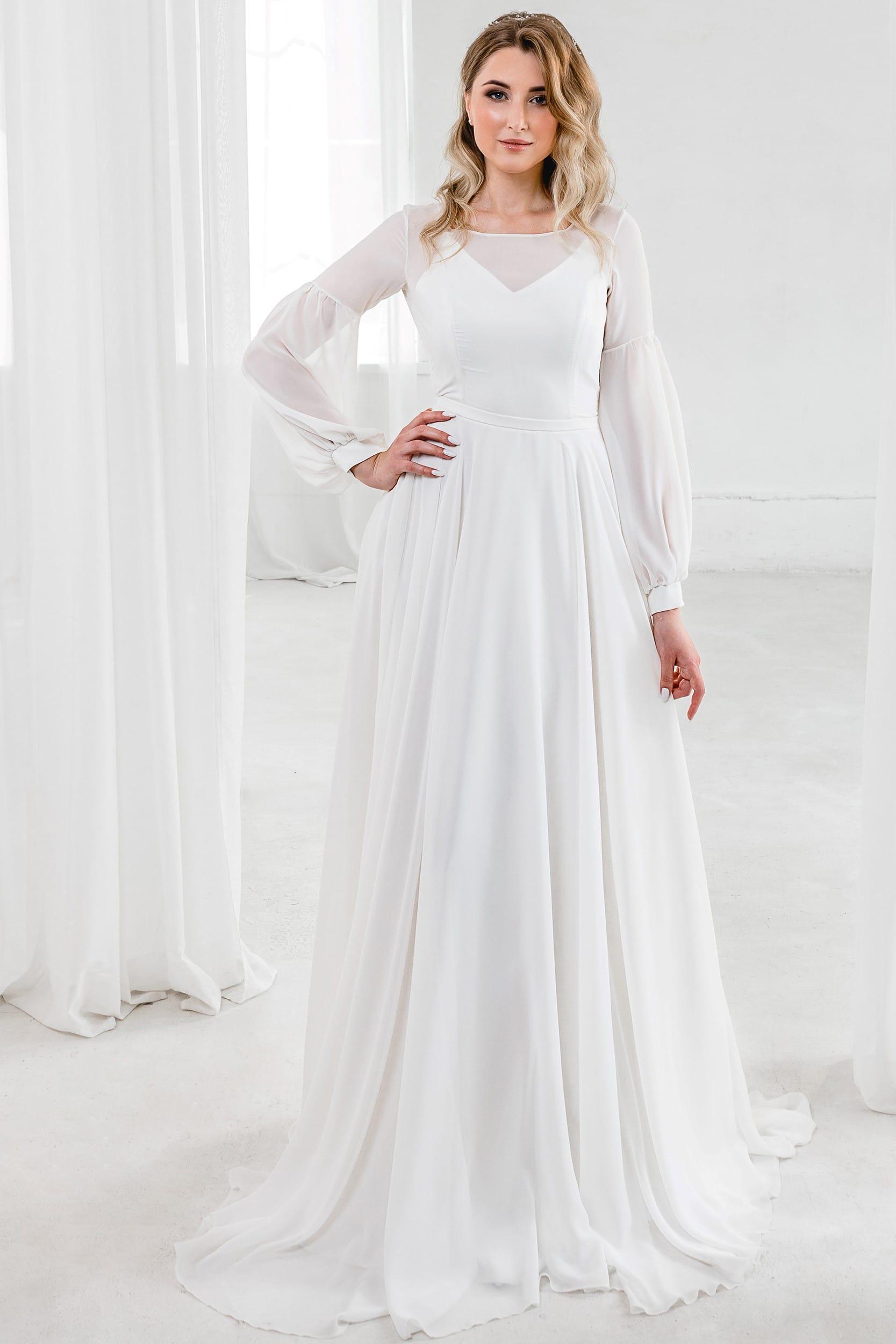 Свадебное платье с длинными рукавами и прозрачным декольте Rare Bridal. А-силуэт, классический стиль, цвет молочный