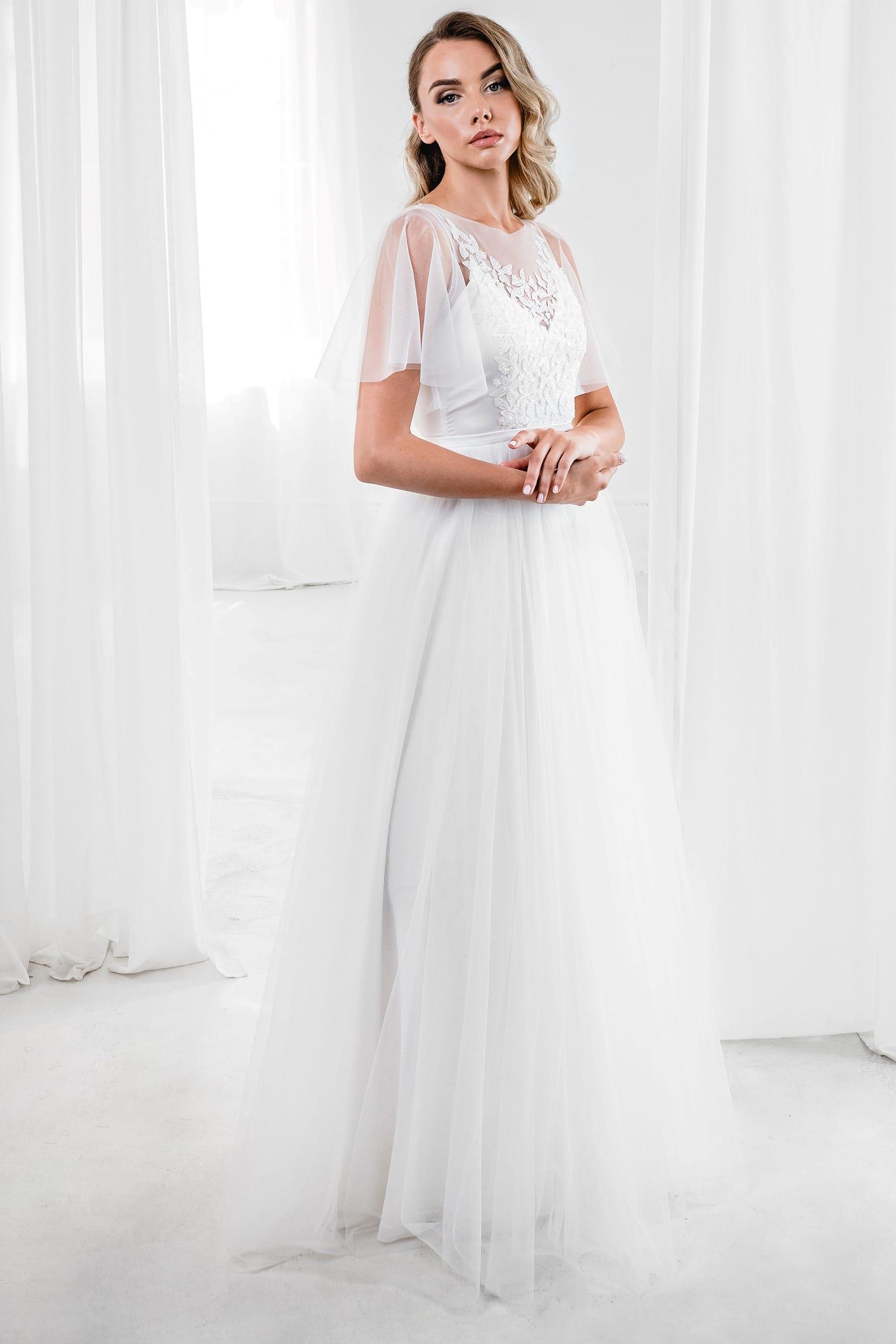 Простое и элегантное свадебное платье рустик, силуэт а-силуэт, цвет молочный