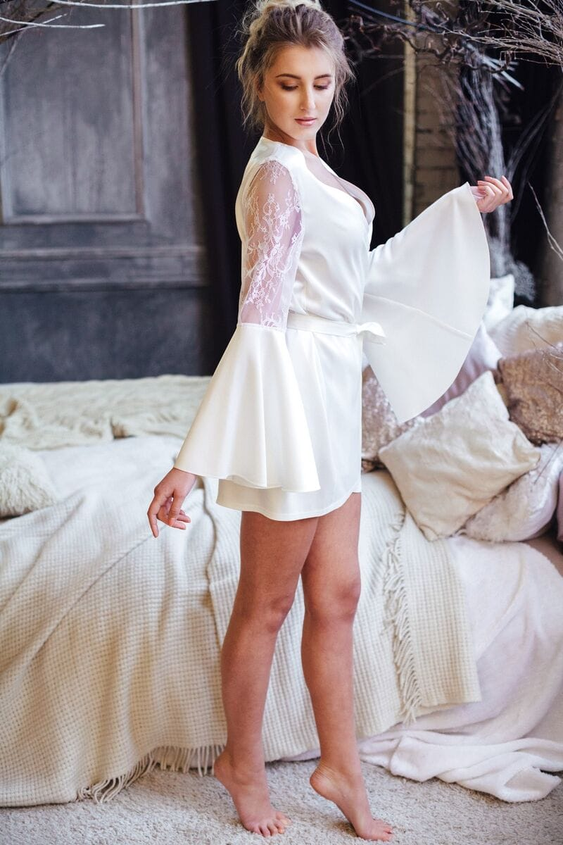 Свадебный пеньюар из шелка, артикул 109, коллекция WEDDING MORNING, бренд RARE BRIDAL, фото 1