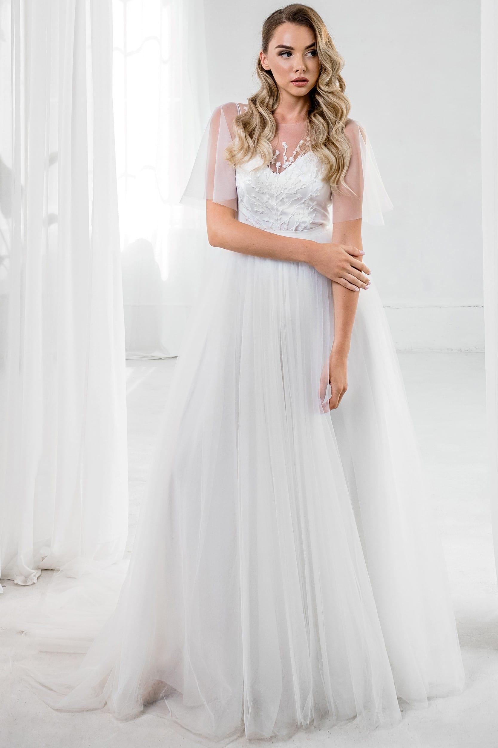 Пышное свадебное платье рустик с прозрачными рукавами, молочного цвета
