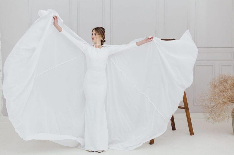 Свадебный плащ с капюшоном, артикул ON19CLOAK-001, фото №2