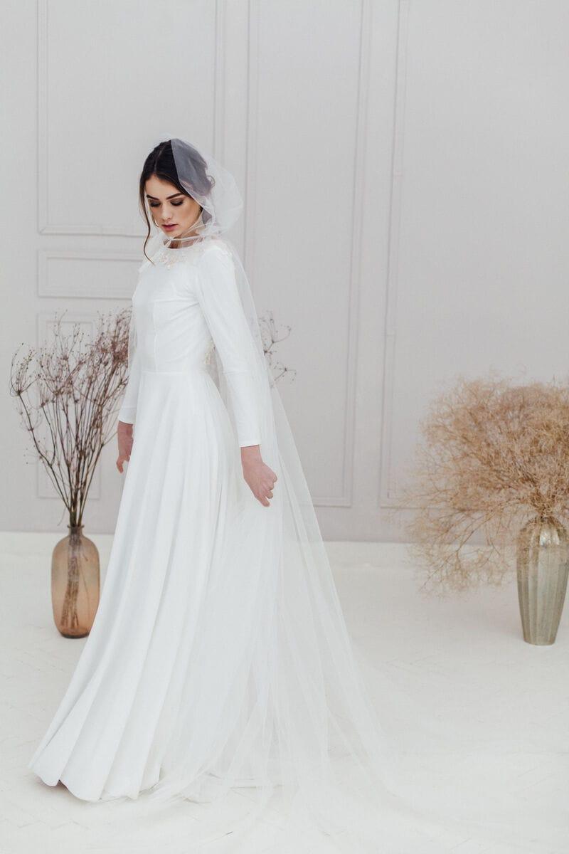 Прозрачный свадебный плащ с капюшоном, артикул ON19CLOAK-002, фото №2