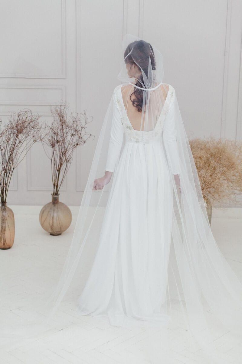 Прозрачный свадебный плащ с капюшоном, артикул ON19CLOAK-002, фото №1