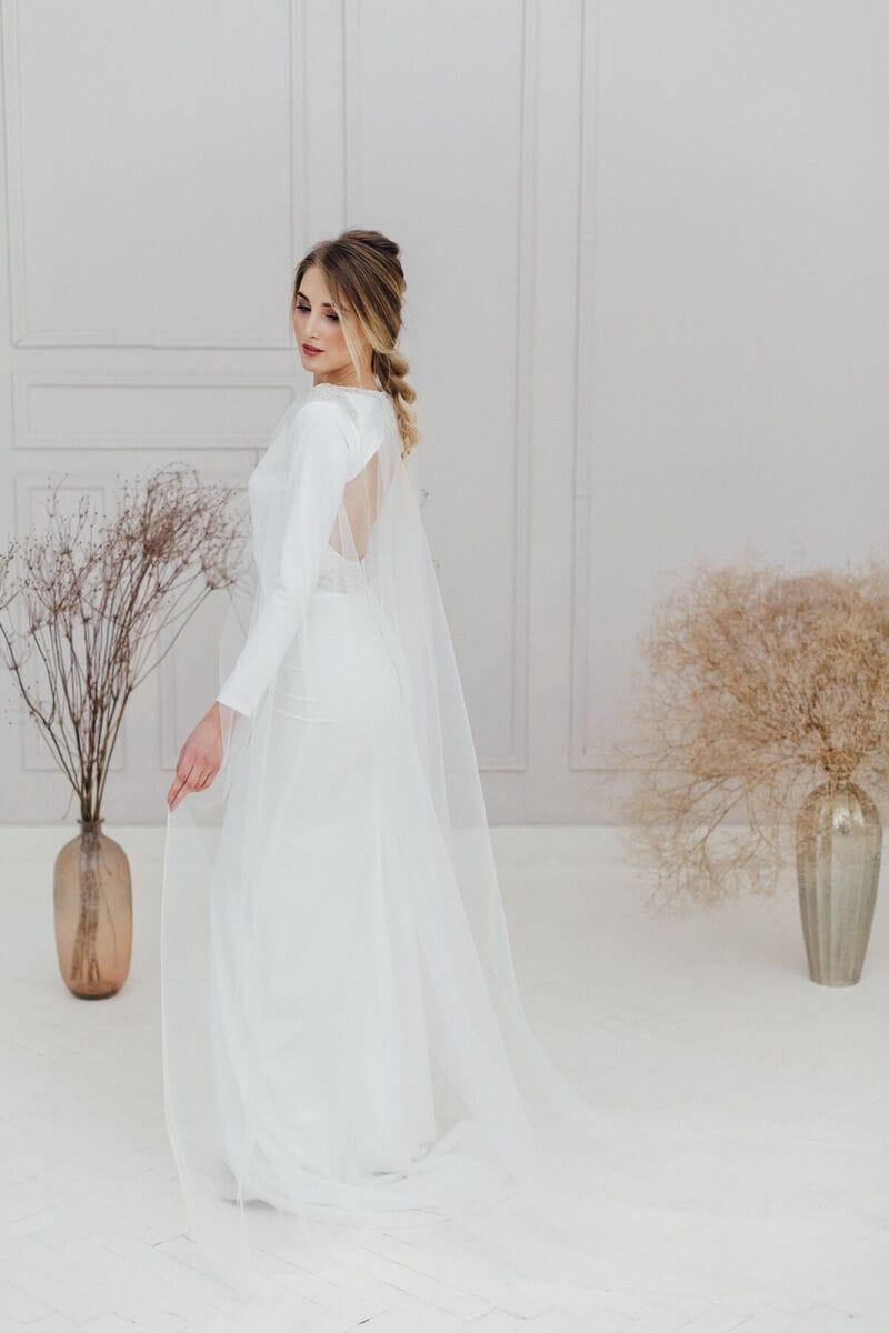 Свадебный прозрачный длинный плащ, артикул ON19CLOAK-003, фото №1