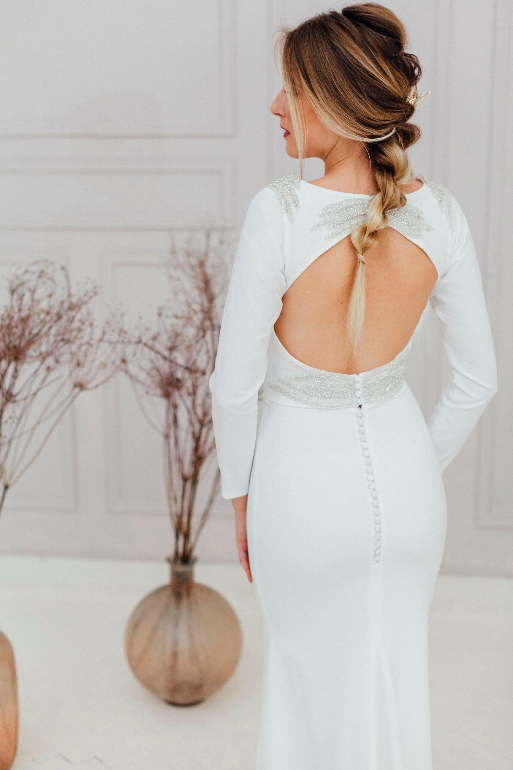 Свадебное платье с фонариками. Силуэт рыбка, цвет белый, стиль классический